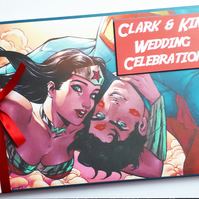 Personalised Superman comics, superheroes wedding guest book