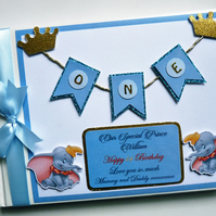 Personalised Dumbo blue and gold themed boys birthday guest book