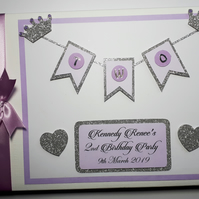 Personalised Princess pink and gold glitter crowns themed birthday guest book