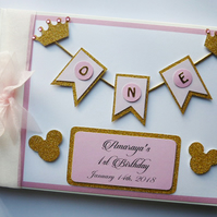 Personalised Princess Minnie pink and gold crowns themed birthday guest book