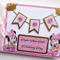 Personalised Princess Minnie pink and gold glitter themed birthday guest book