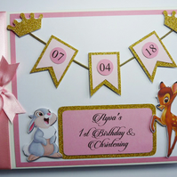 Personalised Bambi pink and gold glitter crowns themed girls birthday guest book
