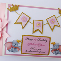Personalised Dumbo pink and gold glitter crowns themed girls birthday guest book