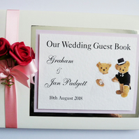 Personalised Teddy themed wedding guest book