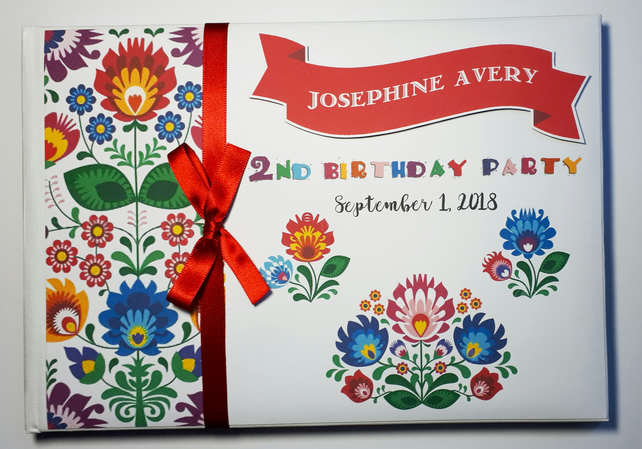 Personalised Fiesta themed Birthday Guest Book