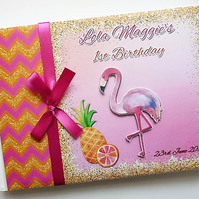 Personalised Tropical Flamingo themed Birthday, Baby Shower  Guest Book