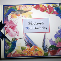 Personalised Birthday Guest Book with humming birds