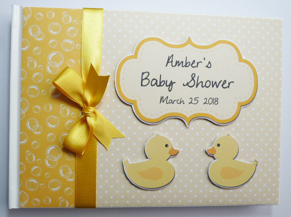 Personalised Baby Shower Guest Book with rubber ducks