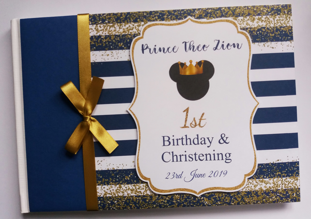 Personalised  Prince Mickey  Birthday Guest Book - gold and royal blue