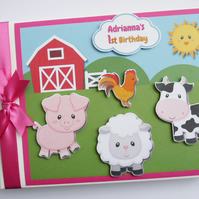 Personalised Farm animals Birthday,  Baby Shower Guest Book