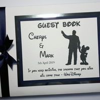 Personalised Walt and Mickey  themed wedding guest book