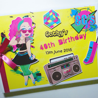 Personalised I love 80's themed Birthday Guest Book