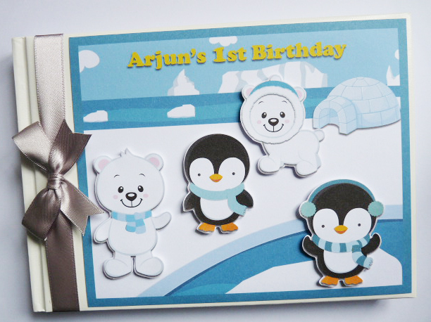 Personalised Penguins Birthday Guest Book