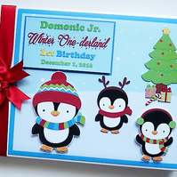 Personalised Winter Onederland Penguins Birthday Guest Book