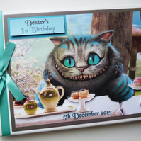 Personalised Alice in Wonderland Cheshire Cat Birthday Guest Book