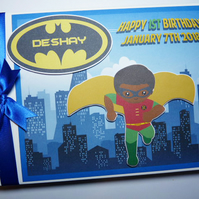 Personalised Batman Robin comics style boy birthday guest book