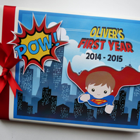 Personalised Superman comics style boy birthday guest book