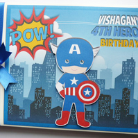Personalised Captain America comics style boy birthday guest book