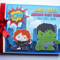 Personalised Hulk comics, superheroes wedding guest book