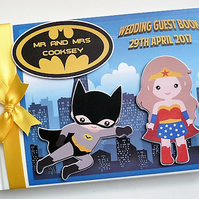 Personalised Batman and Super Woman comics, superheroes wedding guest book