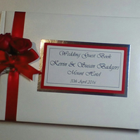Personalised wedding guest book with roses - any colour