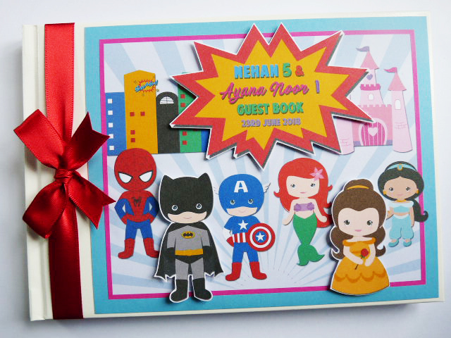 Superheroes and princesses birthday guest book