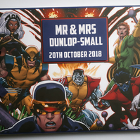 Personalised comics, superheroes wedding guest book, birthday guest book