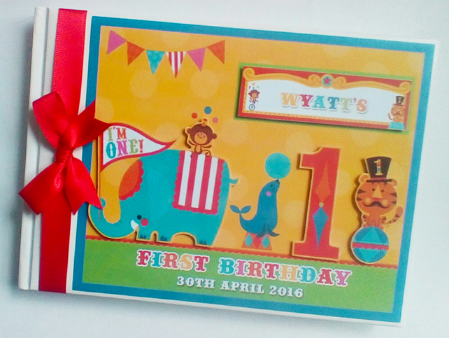 Personalised Fisher Price Circus Birthday Guest Book, Baby Shower Guest book