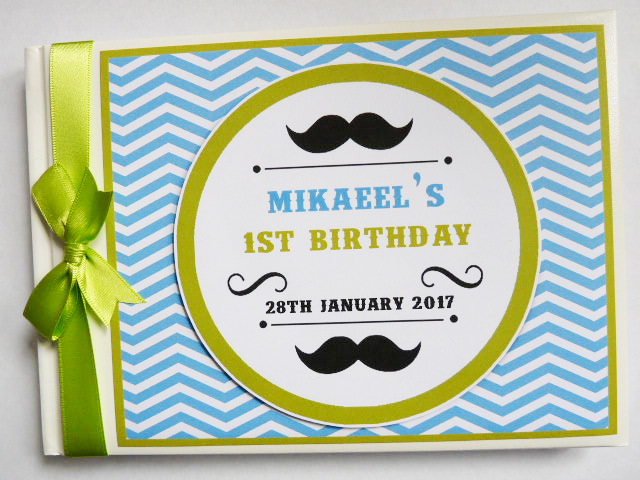 Personalised Little Man boys Birthday,  Baby Shower Guest Book