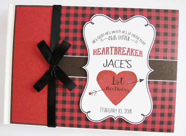 Personalised Little Heartbreaker boys Birthday,  Baby Shower Guest Book
