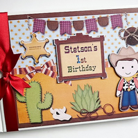 Personalised Cowboy themed boys Birthday,  Baby Shower Guest Book