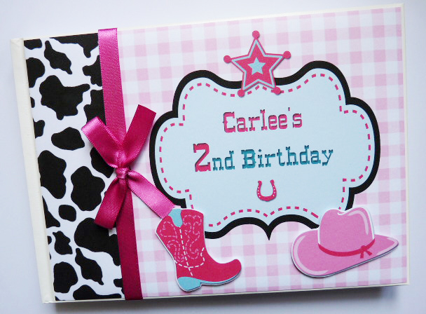 Personalised Cowgirl Birthday,  Baby Shower Guest Book