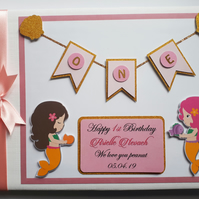 Personalised Mermaids pink and gold girls birthday guest book