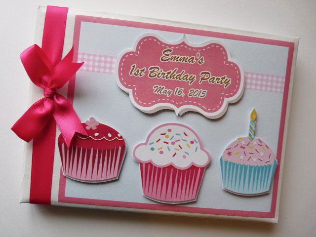 Personalised Cupcake themed Birthday,  Baby Shower Guest Book