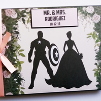 Personalised Captain America comics, superheroes wedding guest book