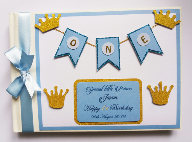 Personalised Royal Prince blue and gold themed birthday guest book