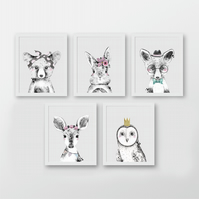 Watercolour woodland animals nursery prints, woodland animals wall decor