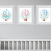Cute animals in hot air balloons nursery wall prints, animals nursery decor