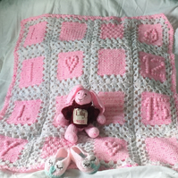Pram sized personalised blanket, bear and slippers