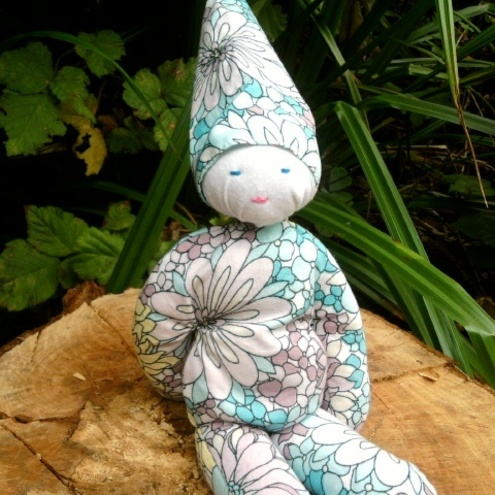 Recycled cloth pixie doll ( bean filled)