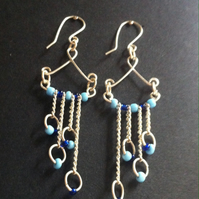 Blue Chainmail Earrings