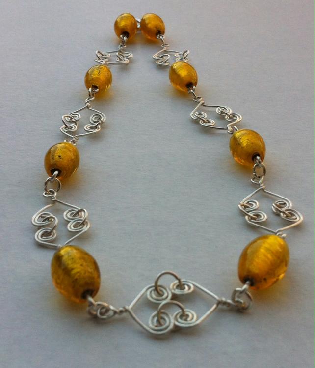 Yellow Foil Bead Wirework Necklace