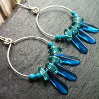 Blue and Turquoise Glass Bead Hoop Earrings