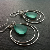 Double Hoop and Turquoise Glass Bead Sterling Silver Earrings