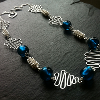 Peacock Blue Glass Bead Squiggle Necklace