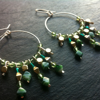Gold and Green Sparkly Hoops