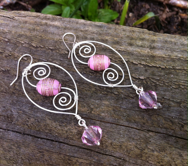 Pink Swirl Dangly Earrings