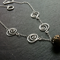 Glitter Ball and Swirl Necklace