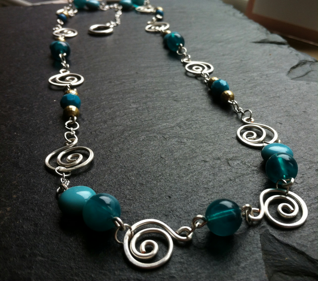 Turquoise and Gold Long Swirl Necklace
