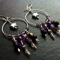 Purple Sparkly Beaded Star Hoops